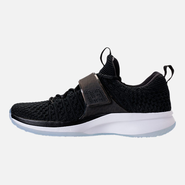 Left view of Men's Air Jordan Trainer 2 Flyknit Training Shoes in Black/Black/White