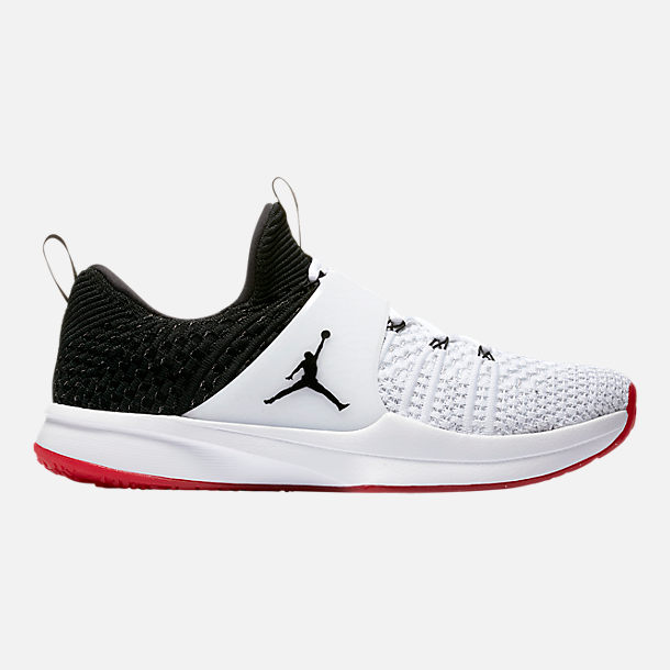 Right view of Men's Air Jordan Trainer 2 Flyknit Training Shoes in White/Black/Gym Red