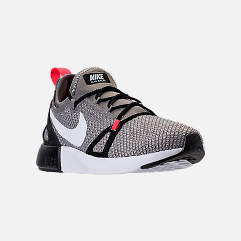 Three Quarter view of Boys' Grade School Nike Duel Racer Running Shoes in Light Charcoal/White/Pale Grey/Black