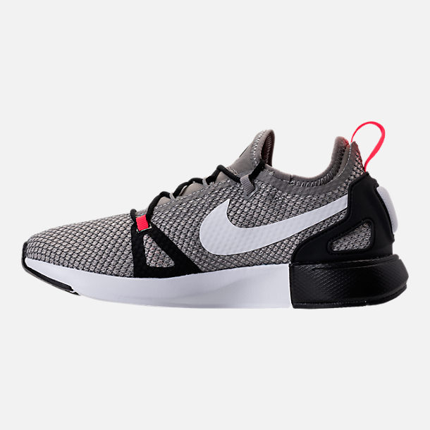 Left view of Boys' Grade School Nike Duel Racer Running Shoes in Light Charcoal/White/Pale Grey/Black