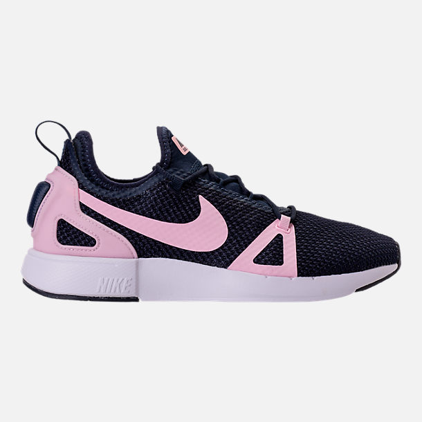 Right view of Girls' Grade School Nike Duel Racer Running Shoes in Obsidian/Prism Pink/White