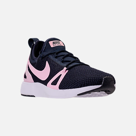 Three Quarter view of Girls' Grade School Nike Duel Racer Running Shoes in Obsidian/Prism Pink/White