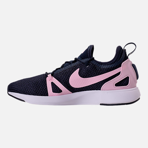 Left view of Girls' Grade School Nike Duel Racer Running Shoes in Obsidian/Prism Pink/White