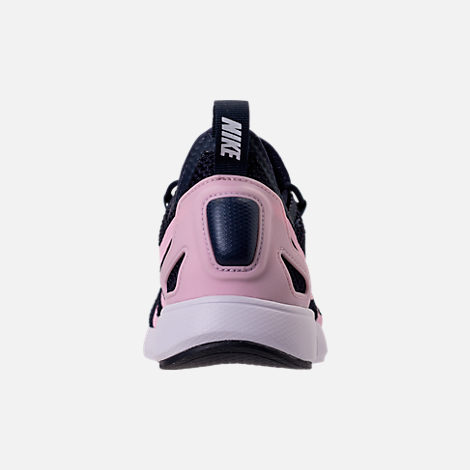 Back view of Girls' Grade School Nike Duel Racer Running Shoes in Obsidian/Prism Pink/White