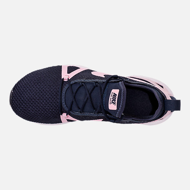 Top view of Girls' Grade School Nike Duel Racer Running Shoes in Obsidian/Prism Pink/White