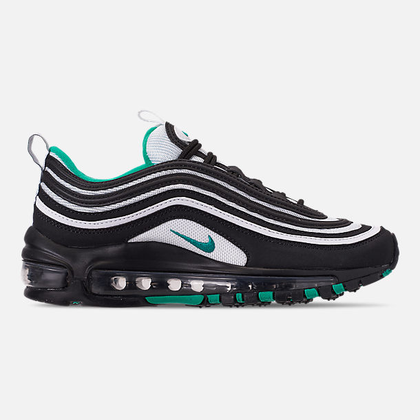 Right view of Big Kids' Nike Air Max 97 Casual Shoes in Black/Clear Emerald/White