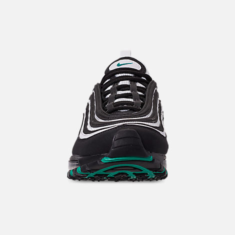 Front view of Big Kids' Nike Air Max 97 Casual Shoes in Black/Clear Emerald/White