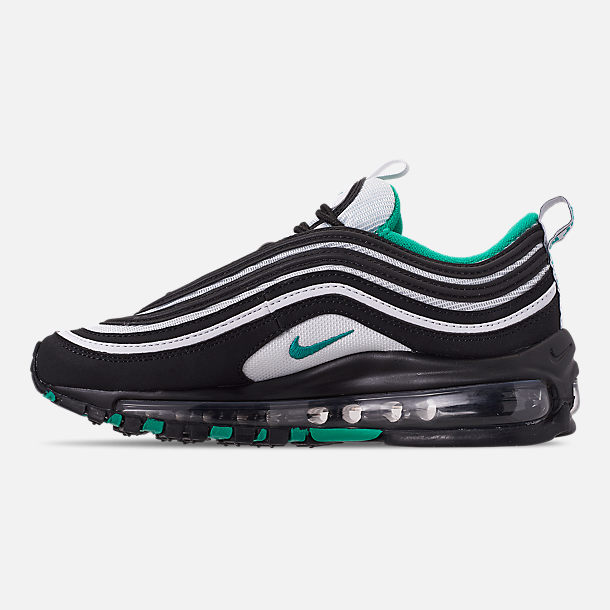 Left view of Big Kids' Nike Air Max 97 Casual Shoes in Black/Clear Emerald/White