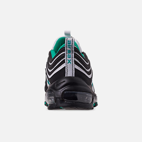 Back view of Big Kids' Nike Air Max 97 Casual Shoes in Black/Clear Emerald/White