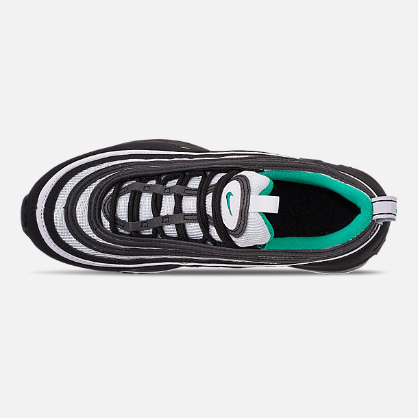 Top view of Big Kids' Nike Air Max 97 Casual Shoes in Black/Clear Emerald/White