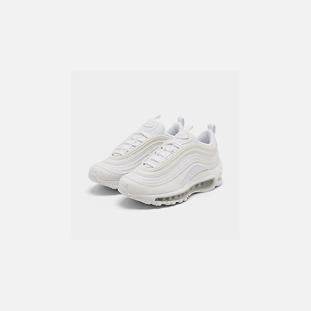 Three Quarter view of Big Kids' Nike Air Max 97 Casual Shoes in White/White/Metallic Silver