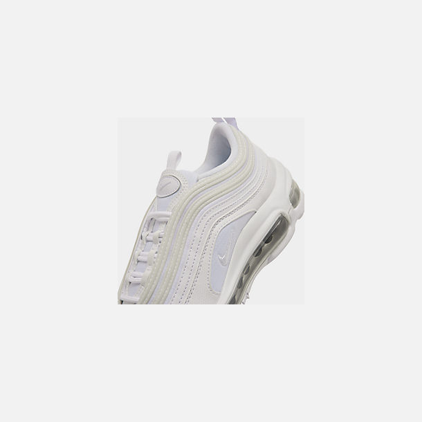 Front view of Big Kids' Nike Air Max 97 Casual Shoes in White/White/Metallic Silver