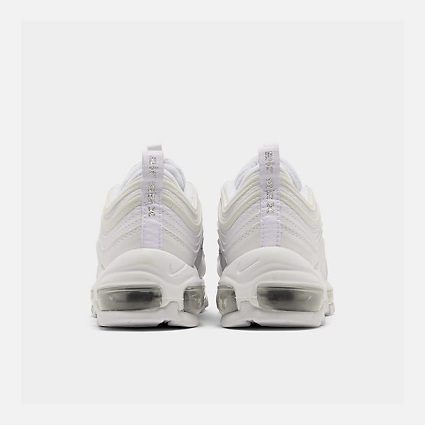 Left view of Big Kids' Nike Air Max 97 Casual Shoes in White/White/Metallic Silver