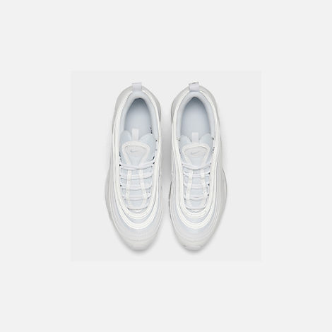 Back view of Big Kids' Nike Air Max 97 Casual Shoes in White/White/Metallic Silver