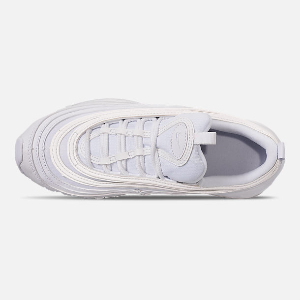Top view of Big Kids' Nike Air Max 97 Casual Shoes in White/White/Metallic Silver