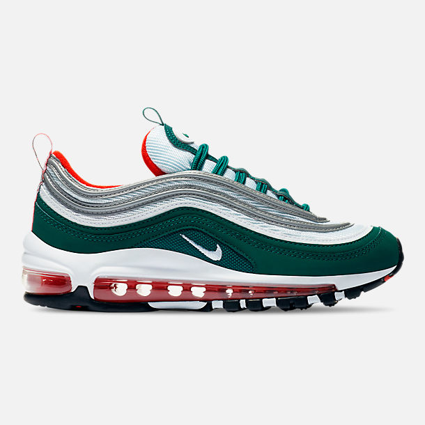 Right view of Kids' Grade School Nike Air Max 97 Casual Shoes in Rainforest/White/Team Orange/Black