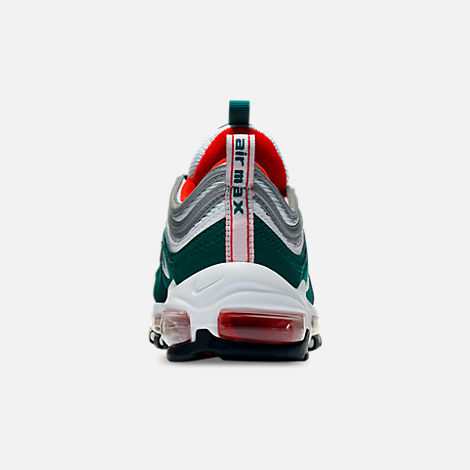Back view of Kids' Grade School Nike Air Max 97 Casual Shoes in Rainforest/White/Team Orange/Black