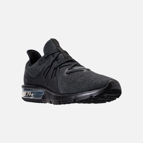 Three Quarter view of Men's Nike Air Max Sequent 3 Running Shoes in Black/Anthracite