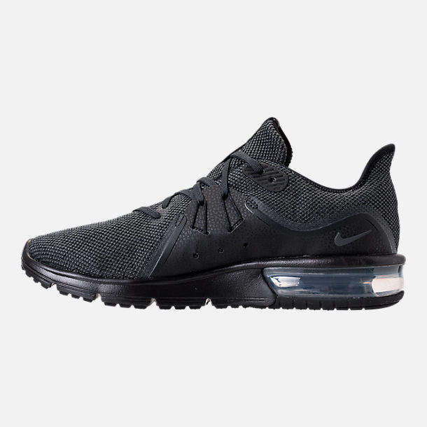 Left view of Men's Nike Air Max Sequent 3 Running Shoes in Black/Anthracite