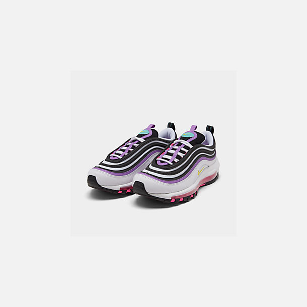 Three Quarter view of Women's Nike Air Max 97 Casual Shoes in White/Dynamic Yellow/Bright Violet