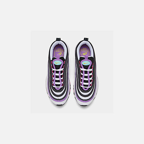 Back view of Women's Nike Air Max 97 Casual Shoes in White/Dynamic Yellow/Bright Violet