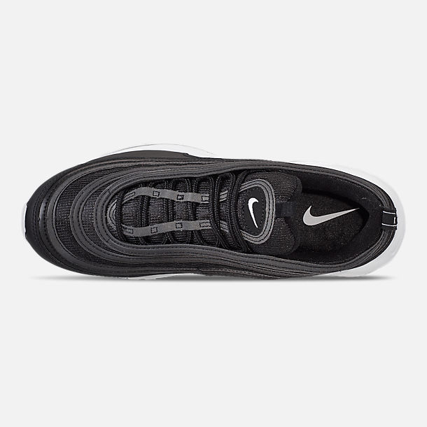 Top view of Men's Nike Air Max 97 Casual Shoes in Black/White