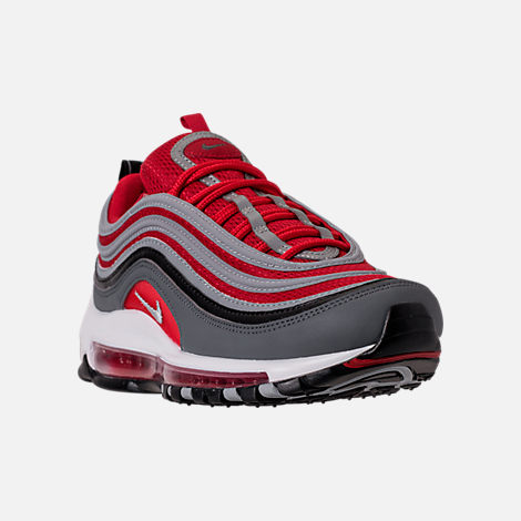 Three Quarter view of Men's Nike Air Max 97 Running Shoes in Dark Grey/Wolf Grey/Gym Red
