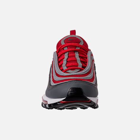 Front view of Men's Nike Air Max 97 Running Shoes in Dark Grey/Wolf Grey/Gym Red