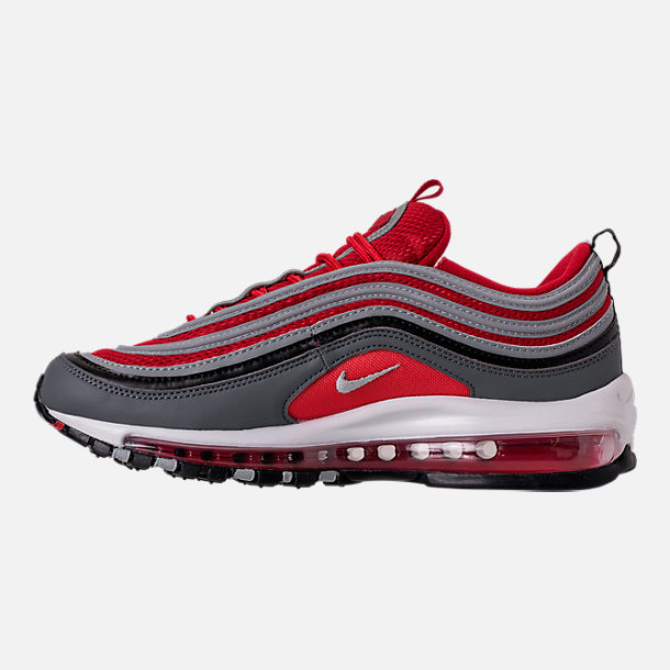 Left view of Men's Nike Air Max 97 Running Shoes in Dark Grey/Wolf Grey/Gym Red
