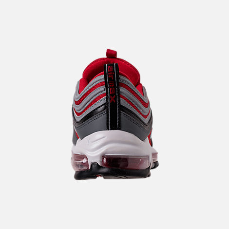Back view of Men's Nike Air Max 97 Running Shoes in Dark Grey/Wolf Grey/Gym Red