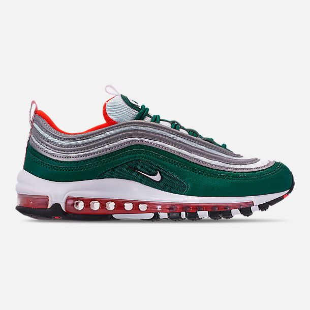 Right view of Men's Nike Air Max 97 Casual Shoes in Rainforest/White/Team Orange