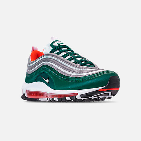 Three Quarter view of Men's Nike Air Max 97 Casual Shoes in Rainforest/White/Team Orange