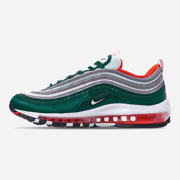 Left view of Men's Nike Air Max 97 Casual Shoes in Rainforest/White/Team Orange