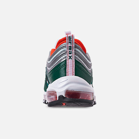 Back view of Men's Nike Air Max 97 Casual Shoes in Rainforest/White/Team Orange