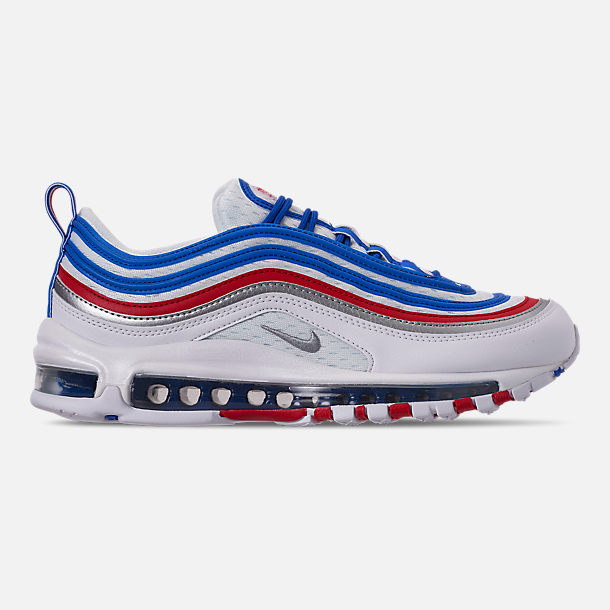 Right view of Men's Nike Air Max 97 Casual Shoes in Game Royal/Metallic Silver/Unversity Red
