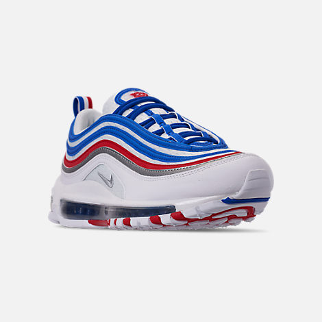 Three Quarter view of Men's Nike Air Max 97 Casual Shoes in Game Royal/Metallic Silver/Unversity Red