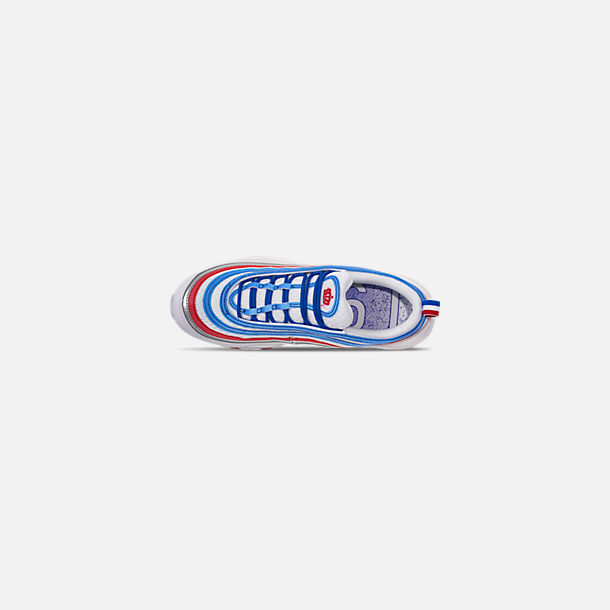 Back view of Men's Nike Air Max 97 Casual Shoes in Game Royal/Metallic Silver/Unversity Red