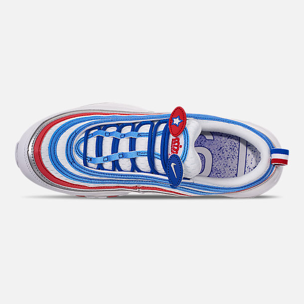 Top view of Men's Nike Air Max 97 Casual Shoes in Game Royal/Metallic Silver/Unversity Red