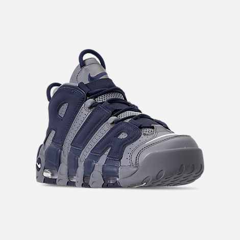 Three Quarter view of Men's Nike Air More Uptempo '96 Basketball Shoes in Cool Grey/White/Mid Navy