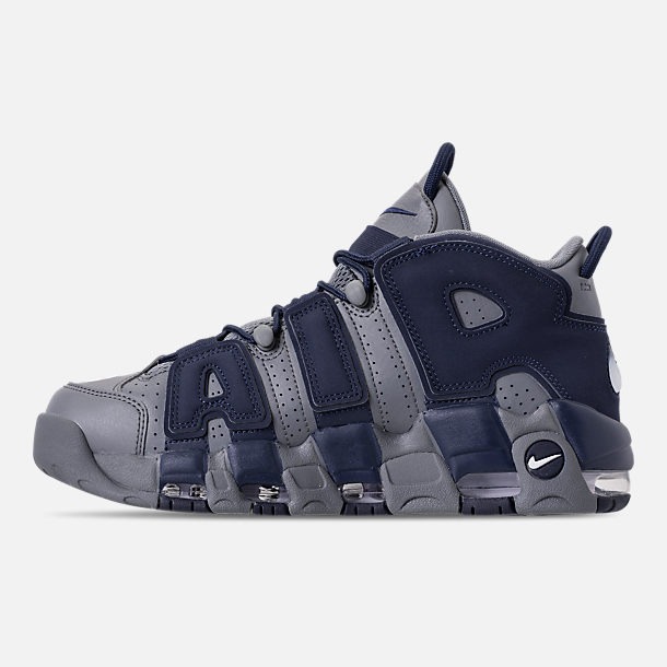 Left view of Men's Nike Air More Uptempo '96 Basketball Shoes in Cool Grey/White/Mid Navy