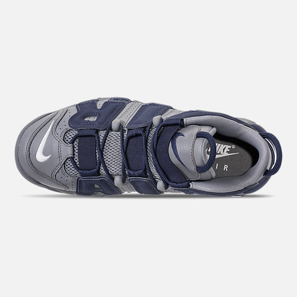 Top view of Men's Nike Air More Uptempo '96 Basketball Shoes in Cool Grey/White/Mid Navy