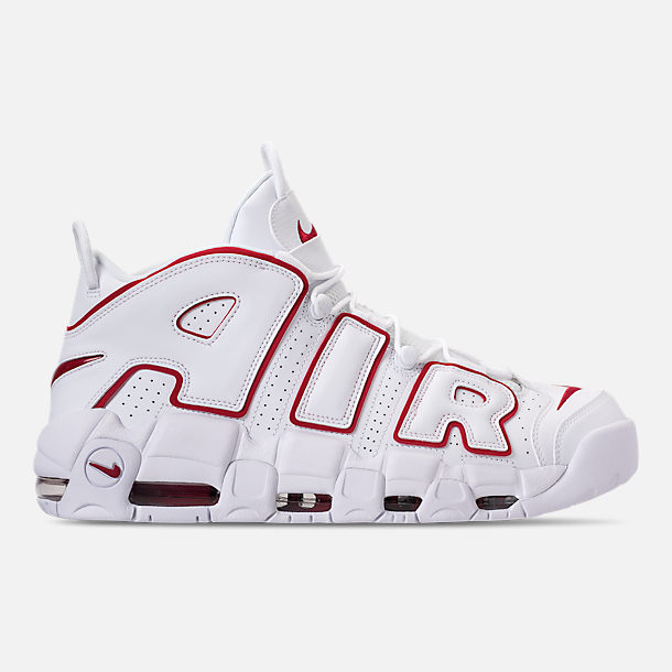 Right view of Men's Nike Air More Uptempo '96 Basketball Shoes in White/Varsity Red/White