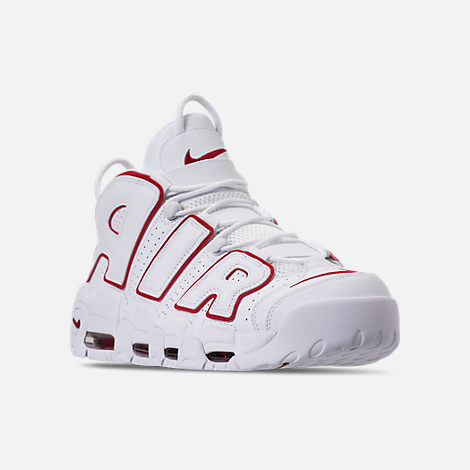 Three Quarter view of Men's Nike Air More Uptempo '96 Basketball Shoes in White/Varsity Red/White