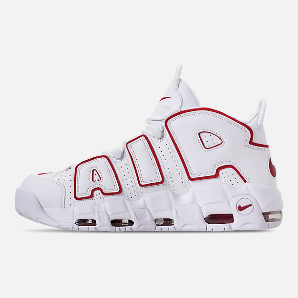 Left view of Men's Nike Air More Uptempo '96 Basketball Shoes in White/Varsity Red/White
