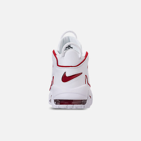 Back view of Men's Nike Air More Uptempo '96 Basketball Shoes in White/Varsity Red/White