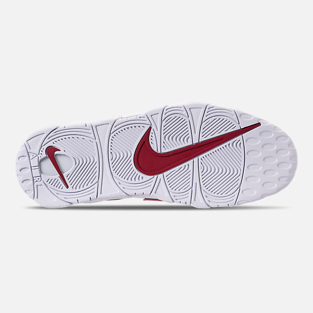 Bottom view of Men's Nike Air More Uptempo '96 Basketball Shoes in White/Varsity Red/White