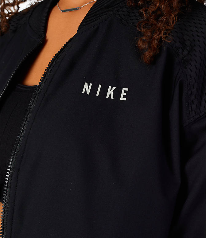Detail 1 view of Women's Nike Sportswear Mesh Bomber Jacket in Black/White