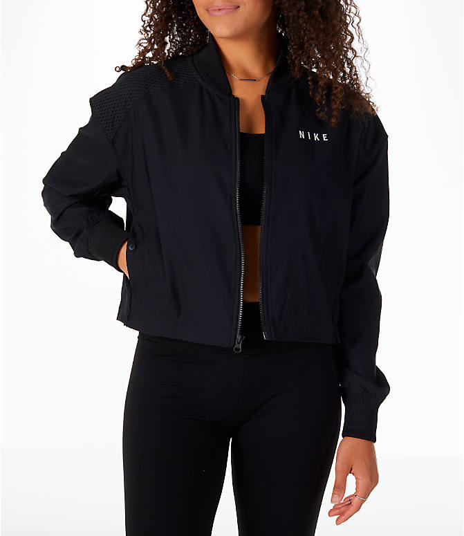 Front view of Women's Nike Sportswear Mesh Bomber Jacket in Black/White