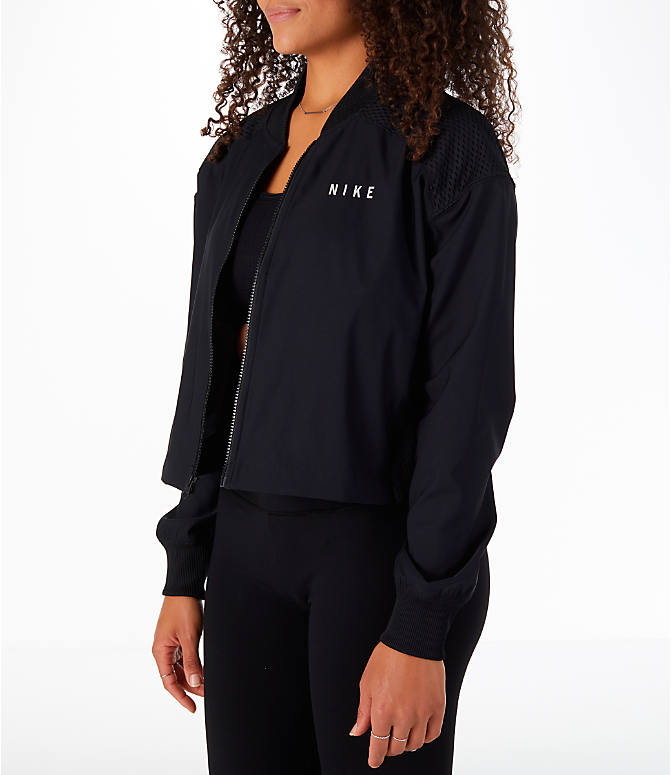 Front Three Quarter view of Women's Nike Sportswear Mesh Bomber Jacket in Black/White