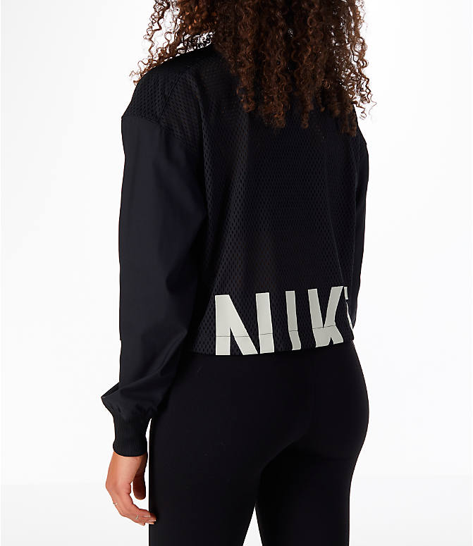 Back Left view of Women's Nike Sportswear Mesh Bomber Jacket in Black/White